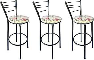 Itagold Kit 3 Banquetas Ravena Tubo Preto Craqueado com Assento Floral Clássico Vermelho - ItaGold