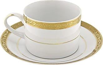 10 Strawberry Street Paradise 8 Oz Can Cup and Saucer, Set of 6, Gold