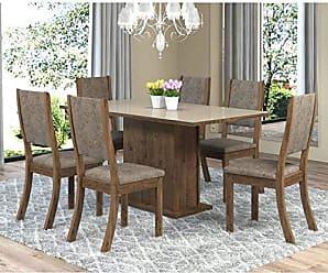 Viero Sala de Jantar Mesa Retangular Tampo de MDF Smart 6 Cadeiras Kiara Viero Grigio/Canela/Vidro Bronze