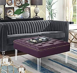 Iconic Home FON9177-AN Pierre Square Ottoman Center Table Button Tufted PU Leather Upholstered Acrylic Legs Modern Transitional Purple