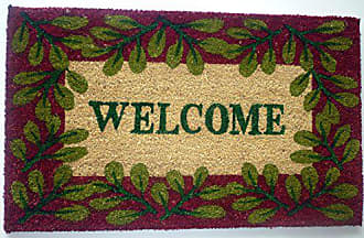 Geo Crafts Vinyl Back Leaf Border Welcome Doormat