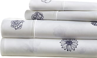 Noble Linens Premium Ultra Soft Indigo Flowers Pattern Sheet Set by Noble Linens, Size: Queen - NL-4PC-IND-Q-NA
