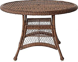 Jeco W00205D-C Wicker Round Dining Table, 44, Honey
