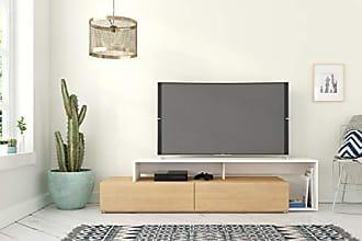 Nexera 112039 Tonik, Natural Maple & White 72-inch TV Stand, Maple Laminate and White Melamine