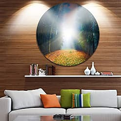 DESIGN ART Designart Rising Sun Over Colorful Forest-Landscape Photo Metal Wall Art - Disc of 11 11 H x 11 W x 1 D 1P Yellow