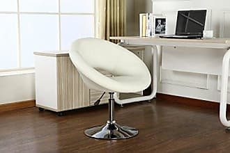 Round Hill Furniture Contemporary Chrome Adjustable Swivel Chair with White Seat