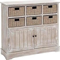 Deco 79 96296 Wood 6 Basket Dresser, 38 x 35