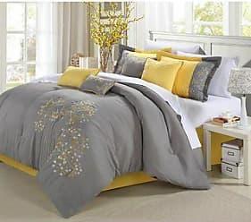Queen King Bed Yellow Gray Grey Pintuck Pleat Stripe 8 pc Comforter Set Bedding