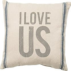 Primitives By Kathy Vintage Flour Sack Style I I Love Us Throw Pillow, 15-Inch Square, I