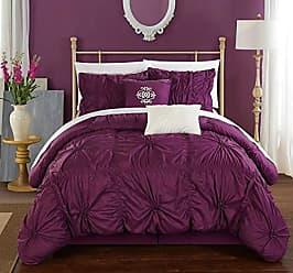 Chic Home CS1439-AN Halpert Floral Pinch Pleat Ruffled Designer Embellished King Comforter Set, 6-Piece, Purple