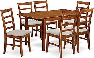 East West Furniture PSPF7-SBR-C 7 Piece Rectangular Kitchen Table Featuring 18 Leaf and Six Cushioned Chairs in Saddle Brown Finish