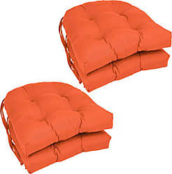 Blazing Needles Solid Twill U-Shaped Tufted Chair Cushions (Set of 4), 16, Tangerine Dream