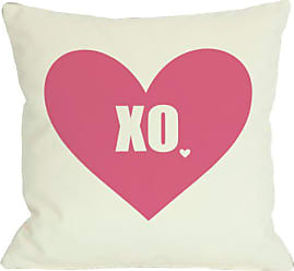 One Bella Casa XO with Heart Throw Pillow by OBC, 18x 18, Pink/Cream