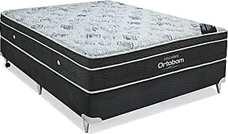 Ortobom Conjunto Cama Box Camurça com Colchão Casal Molas Nanolastic Exclusive (30x138x188) Cinza