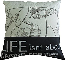 Violet Linen Life Isnt About Waiting Decorative Burlap Cushion Cover, Embroidered Inspirational Quote Print, 18 x 18