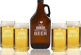 Chloe and Madison I love You More than you love Beer Amber Growler & Can Glasses, Set of 5