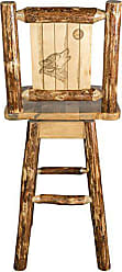 Montana Woodworks Glacier Country Collection Counter Height Barstool with Back & Swivel, Laser Engraved Wolf Design