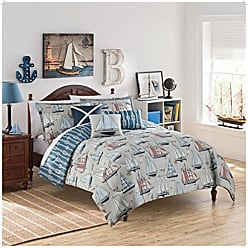 Ellery Homestyles WAVERLY Kids Set Sail Reversible Bedding Collection, Twin, Multicolor