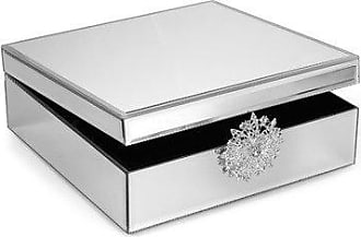 The Jay Companies American Atelier Brooch Mirror Jewelry Box, 9.8 x 9.8 x 3.5-Inch, Silver