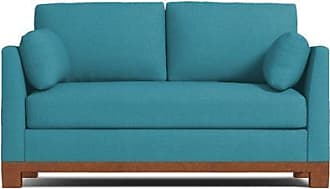 Apt2B Avalon Twin Size Sleeper Sofa - Leg Finish: Pecan - Sleeper Option: Deluxe Innerspring Mattress - Teal Performance Fabric - Sold by Apt2B - Moder