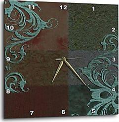 3D Rose dpp_55089_1 Aqua Green Elegant Vines on Brown Tones Wall Clock, 10 by 10-Inch
