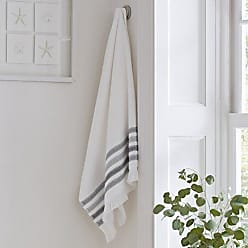 Five Queens Court Laney 100% Cotton Jacquard Ombre Stripe Bath Towel with Fringe, Grey