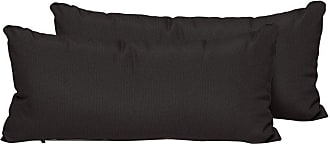 TK Classics Solid 22 x 11 in. Outdoor Throw Pillow - Set of 2 - PILLOW-BLACK-R-2X