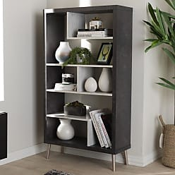 Baxton Studio Atlantic Modern and Contemporary Dark Brown and Light Gray Two-Tone Finished Wood Display Shelf - C-1702-2004-CONCRETE GREY-SHELF
