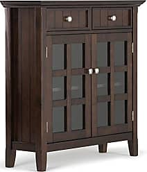 Simpli Home Simpli Home AXWELL3-013 Acadian Solid Wood 36 inch wide Rustic Entryway Hallway Storage Cabinet in Tobacco Brown