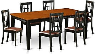 East West Furniture QUNI7-BCH-LC 7 Piece Table with 6 Solid Wood Chairs Set