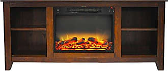 Cambridge Silversmiths CAM6226-1WALLG2 Santa Monica 63 In. Electric Fireplace & Entertainment Stand in Walnut with Enhanced Log Display