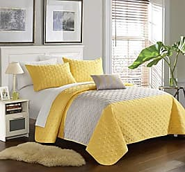 Chic Home 4 Piece Dominic Geometric Embroidered Quilt Set Shams and Decorative Pillows, King, Yellow