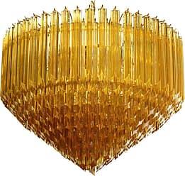 VENINI Modern Quadriedri Murano Glass Chandelier, 265 Amber Prism, Gold Frame