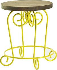 Mão & Formão Mesa Lateral Paix 36 cm Amarela e NogueiraAmarelo e Nogueira