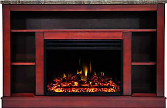 Cambridge Silversmiths Seville Heater with 47-in. Cherry TV Stand, Enhanced Log Display, Multi-Color Flames, and Remote Control, CAM5021-1CHRLG3 Electric Fireplace