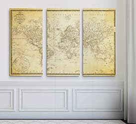 WEXFORD HOME Vintage World Map v Parchment 3 Panel Gallery Wrapped Canvas Wall Art, 24x36, Multicolor