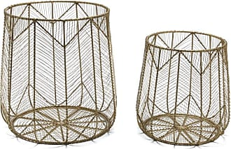 Drew Barrymore Flower Home Handmade Chevron Wire 2 Piece Basket Set Brass by Drew Barrymore Flower Home - E1245B0CBC9647A1937BA3A9372A43A5