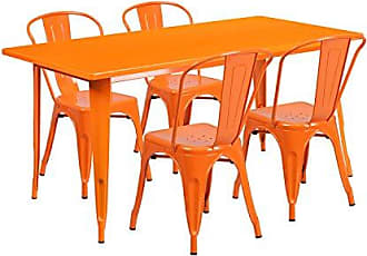 Flash Furniture 31.5 x 63 Rectangular Orange Metal Indoor-Outdoor Table Set with 4 Stack Chairs