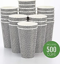 Restaurantware RWA0280BH Spiral Wall Disposable Coffee Cup, 16 oz, Houndstooth