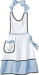 Violet Linen Elegant Embroidered Apron One Size Blue