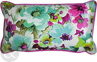 Just Contempo Art Deco Kissenbezug, Blumenmuster, Modernes Design  Grün/Fuchsia Pink Kissen,