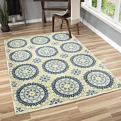 Orian Rugs Veranda Indoor/Outdoor Medallion Hamilton Area Rug, 52 x 76, Aqua