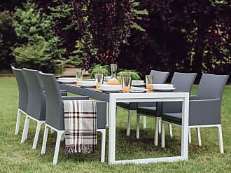 efbe4f002d25 Beliani Conjunto de 2 sillas de jardín gris oscuro BACOLI