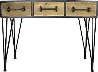 Heather Ann Creations Soho Collection, Industrial Style, 3-Drawer Console Table, Wood and Black