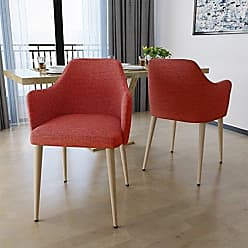 Christopher Knight Home 303214 Nande Mid Century Muted Orange Fabric Dining Chairs with Light Walnut Wood Finished Legs (Set of 2)