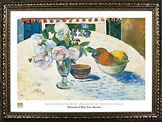 Buyartforless Framed Flowers and A Bowl of Fruit On A Table by Paul Gauguin 24x32 Art Print Poster Famous Painting Still Life Fruit Flowers from Museum of Fine Arts Boston Collection