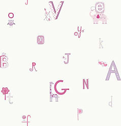 York Wallcoverings Peek-A-Boo Alphabet And Animal Wallpaper Pink - YS9125