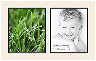 Art to Frames Collage Photo Frame Double Mat with 2 - 10x12 Openings and Satin Black Frame