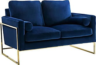 Meridian Furniture 678Navy-L Mila Collection Modern | Contemporary Navy Velvet Upholstered Loveseat with Stainless Steel Base in a Rich Gold Finish
