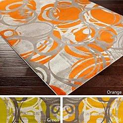 Overstock Aiden Contemporary Dots Area Rug (76 x 106 - Orange)
